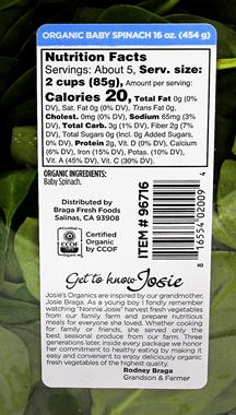 Josie S Organics Organic Baby Spinach Hy Vee Aisles Online Grocery Shopping
