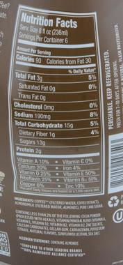 Ingredients: Coffee* (Filtered Water, Coffee Extract), Almondmilk (Filtered Water, Almonds), Pure Cane Sugar. Contains less than 2% of the following: Cocoa ...